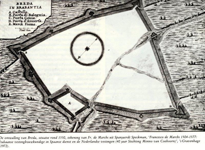 Breda plattegrond voorstel vestingwallen volgens De Marchi
